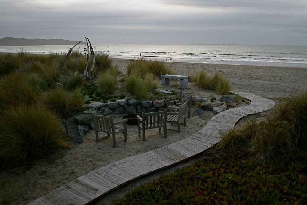 Aaa Huntington Beach with Beach Style Landscape Also Beachfront Garden Art Mass Plantings Ocean View Outdoor Fire Pit Outdoor Seating Stone Wall Walkway Wood Furniture Wood Panels