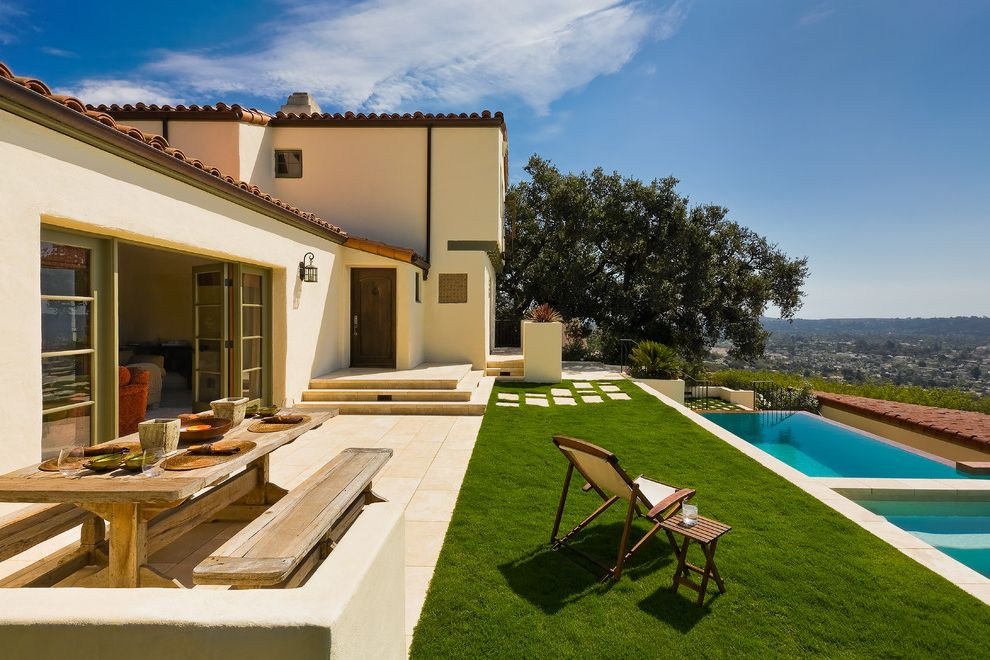 Aaa Santa Barbara with Mediterranean Patio Also Ab Design Studio City View Clay Tile Roof Grass Hillside Indoor Outdoor Living Pavers Picnic Table Pool Rectilinear Pool Santa Barbara Santa Barbara Style Stucco
