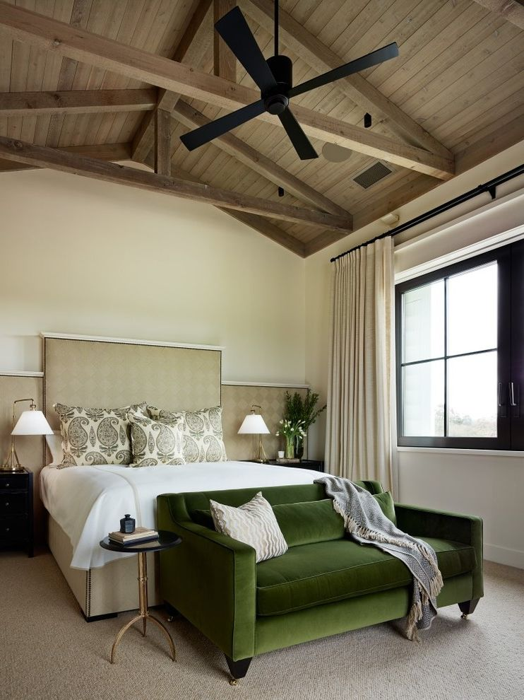 Aaa Santa Rosa   Transitional Bedroom  and Architectural Elements Clean Design Custom Made Exposed Beams Green Velvet Interior Design Master Bedroom Napa Raked Ceiling Sonoma Sophisticated Design Upholstered Headboard Velvet Sofa Windows Wine Country