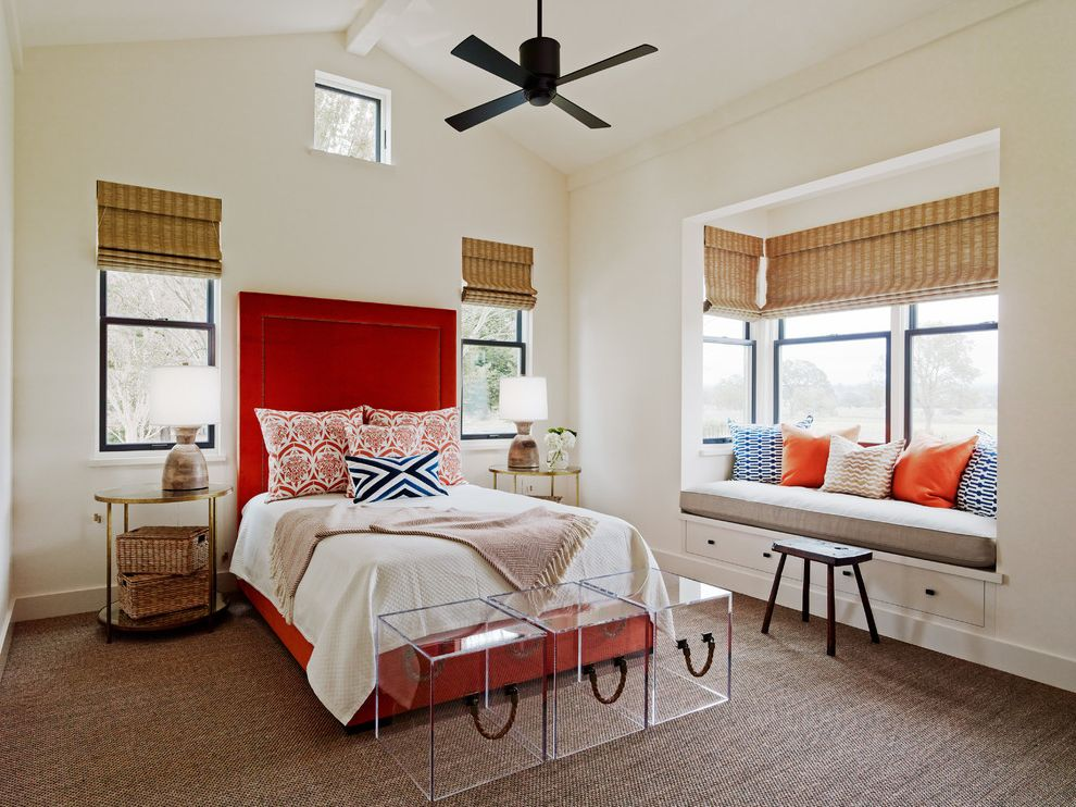 Aaa Santa Rosa with Transitional Bedroom Also Accent Pillows Bedside Lamp Ceiling Fan Custom Made Interior Design Napa Nautical Rope Orange Orange and Blue Plexiglas Raked Ceiling Sisal Rug Sonoma Upholstered Headboard Window Shades Wine Country