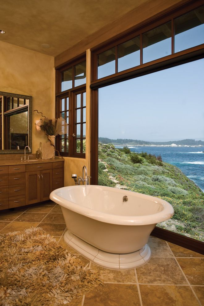 Aaa Sonora Ca with Beach Style Bathroom  and Area Rug Casement Windows Coastal Earth Tones Faux Finish Fixed Window Freestanding Tub Master Bath Looking at Point Lobos Painted Ceiling Picture Window Tile Floor Transom Waterfront Wood Cabinets Wood Trim