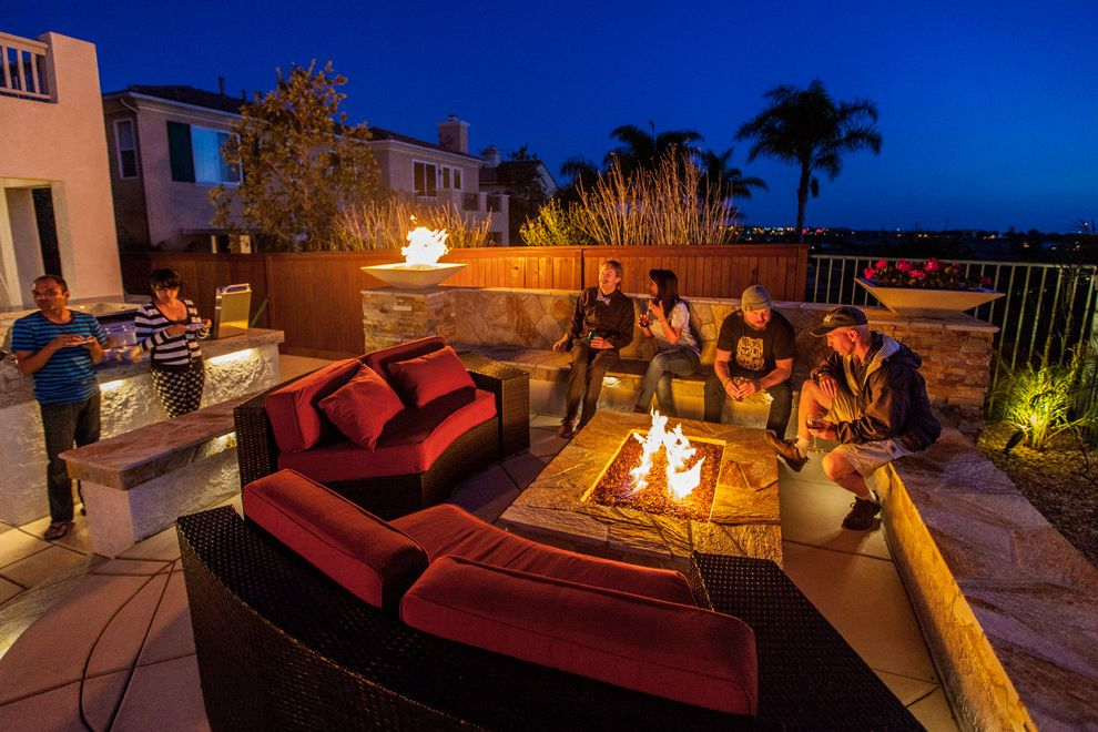 Aaa Valencia Ca   Beach Style Patio Also Barbecue Concrete Fire Bowls Fire Pit Landscape Lighting Low Voltage Lighting Masonry Modern Landscape Seat Wall Seating Area Stacked Stone