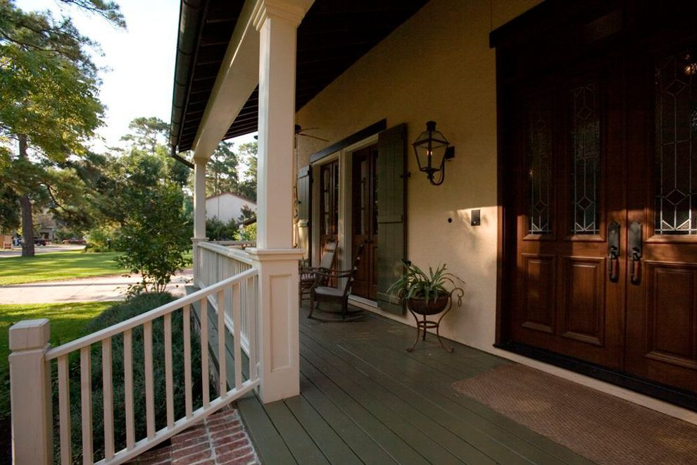 Acadian Style Homes    Porch Also Black Lantern Front Door Front Porch Rocking Chairs Wood Columns