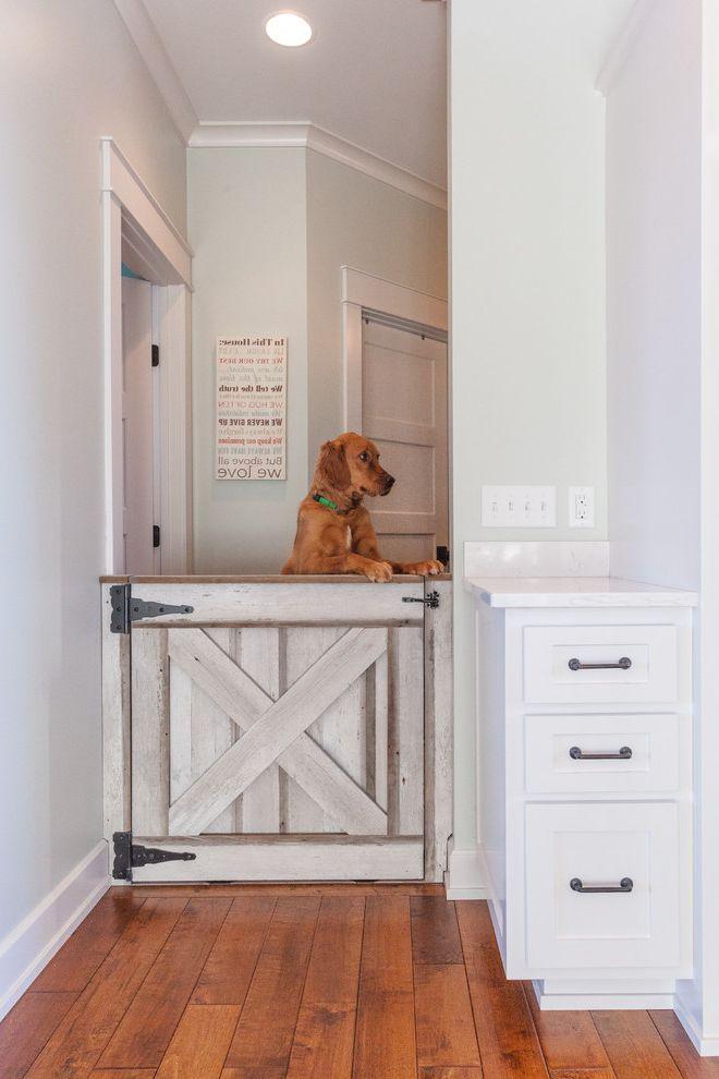 Accordion Dog Gates with Traditional Hall  and Batten Door Coving Dog Door Doggy Door Golden Retriever Half Door Hall Storage Medium Wood Floor Pale Green Walls Pet Door Strap Hinges