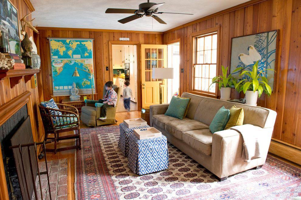 Acoustic Panel Placement   Eclectic Living Room Also Ceiling Fan Classroom Greek Key Kids Map Ottomans Rattan Recliner Split Level Vintage Vintage Sign Wood Paneled Walls Wood Paneling Yellow Door Zebra