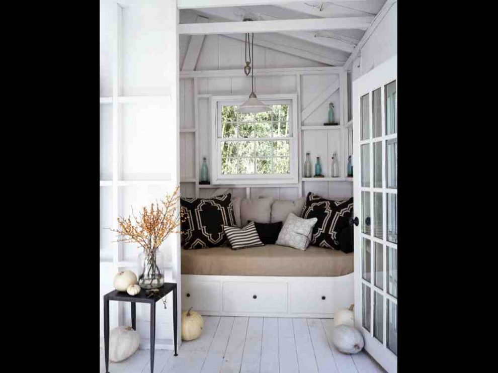 Adult Daybed   Beach Style Bedroom  and Bed Black White Interior Doors Light Modern Nook Pool Cottage Pool House Reading Scandinavian Sleeping Sofa Wood Floor