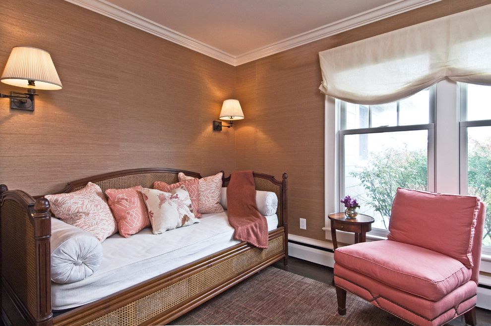 Adult Daybed   Eclectic Bedroom Also Area Rug Baseboard Bolster Coral Crown Molding Day Bed Pink Printed Pillows Rattan Salmon Sconces Settee Texture Valance Wall Sconce Wallpaper White White Trim