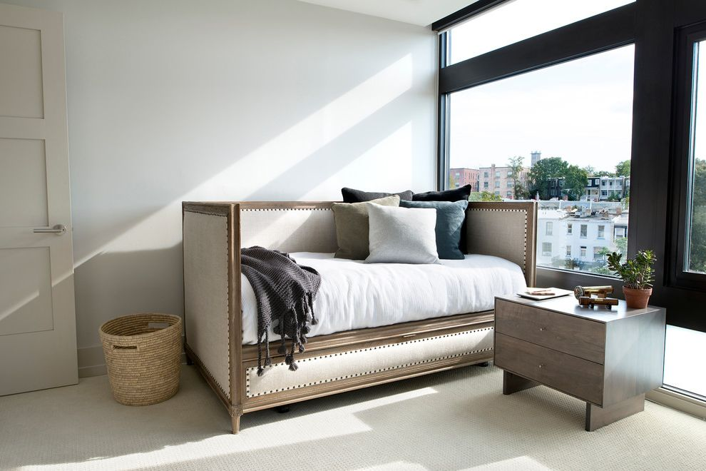 Adult Daybed   Transitional Bedroom  and Basket Bedding Carpet Cushions Daybed Door Dresser Home Office Neutral Colors Picture Window Pillows Throw Trundle Upholstered White Wall Wood