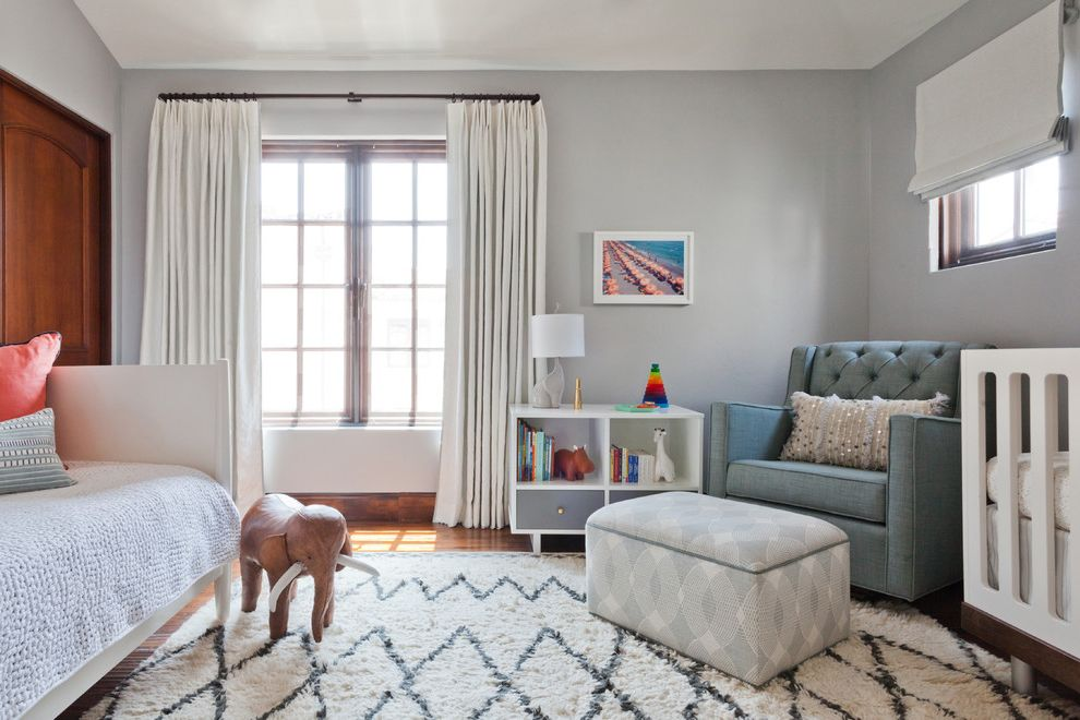 Adult Daybed   Transitional Nursery Also Art Gallery Blue Tufted Chair Boys Nursery Daybed Eskayel Wallpaper Gender Neutral Nursery Gray Malin John Robshaw Lattice Rug Linen Curtains Mid Century Dresser Modern Nursery Moroccan Rug Roman Shades Whimsical