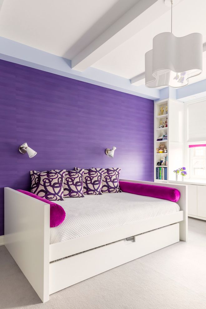 Adult Daybed with Transitional Bedroom  and Beamed Ceiling Chandelier Hwite Bedding Pink and Purple Purple Wall Wall Sconces White Carpet