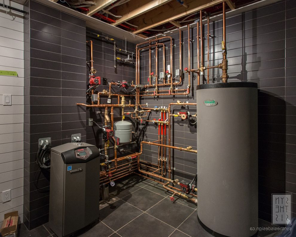 Advanced Plumbing and Heating   Contemporary Basement Also Utility Room