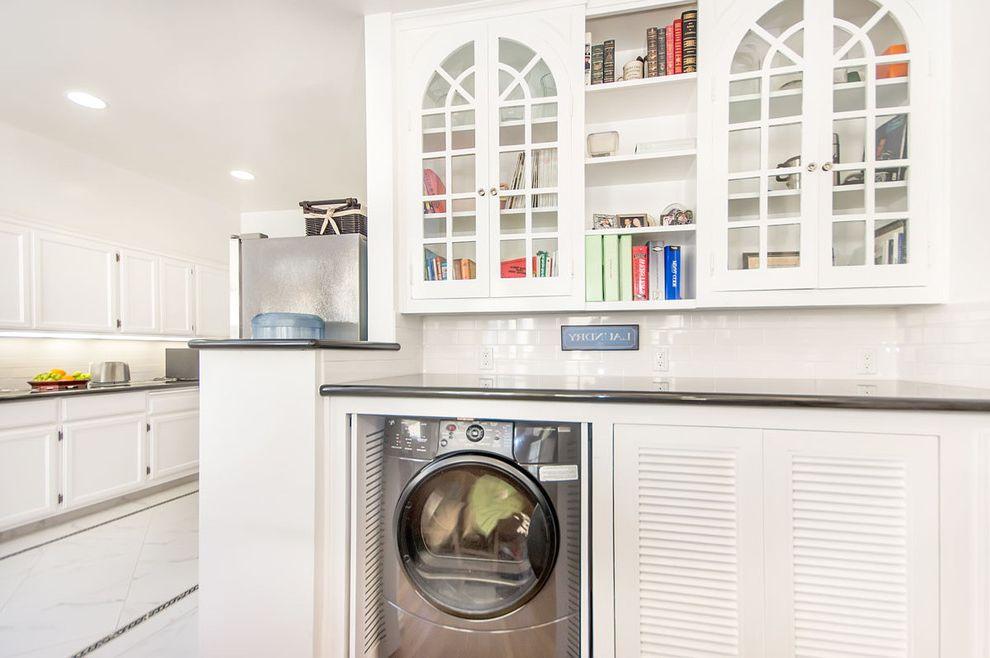 Airport Appliance San Jose   Traditional Laundry Room  and Cottage Kitchen Laundry Cabinet Shelves Tiled Backsplash White White Kitchen Cabinet White Tile