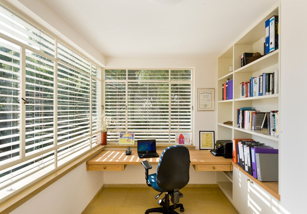 Alexandria of Carmel Apartments with Contemporary Home Office Also Binders Blinds Bookshelves Built in Cabinets Built in Desk Corner Window Drawers Office Chair White Walls Work Area