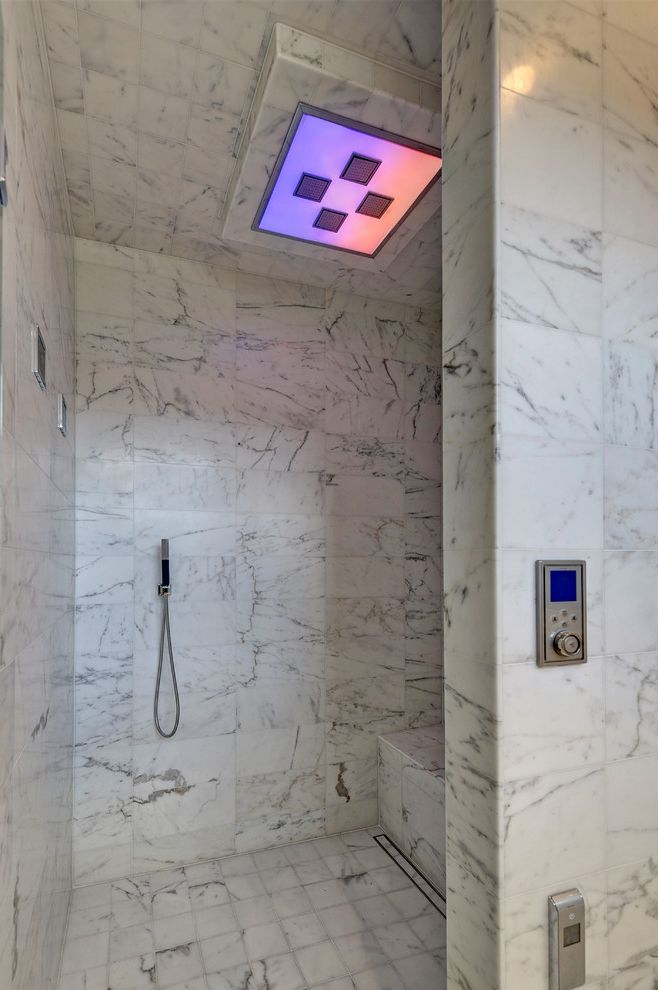 All American Homes Fayetteville Nc with Contemporary Bathroom and Aco Drain Linear Marble Tile Mood Lighting Shower Bench Shower Tile Vancouver Walk in Shower
