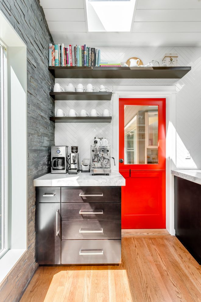 All American Homes Fayetteville Nc with Transitional Kitchen and Coffee Corner Espresso Machine Floating Shelves Herringbone Pattern Herringbone Tile Midcentury Modern Quartzite Counters Skylight Thick Countertops White Tongue and Groove