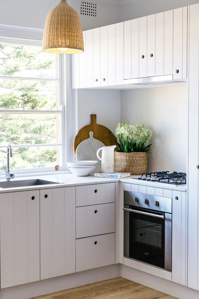 All Rite Plumbing   Beach Style Kitchen Also Basketweave Pendant Light Small Oven White Mosaic Backsplash Window