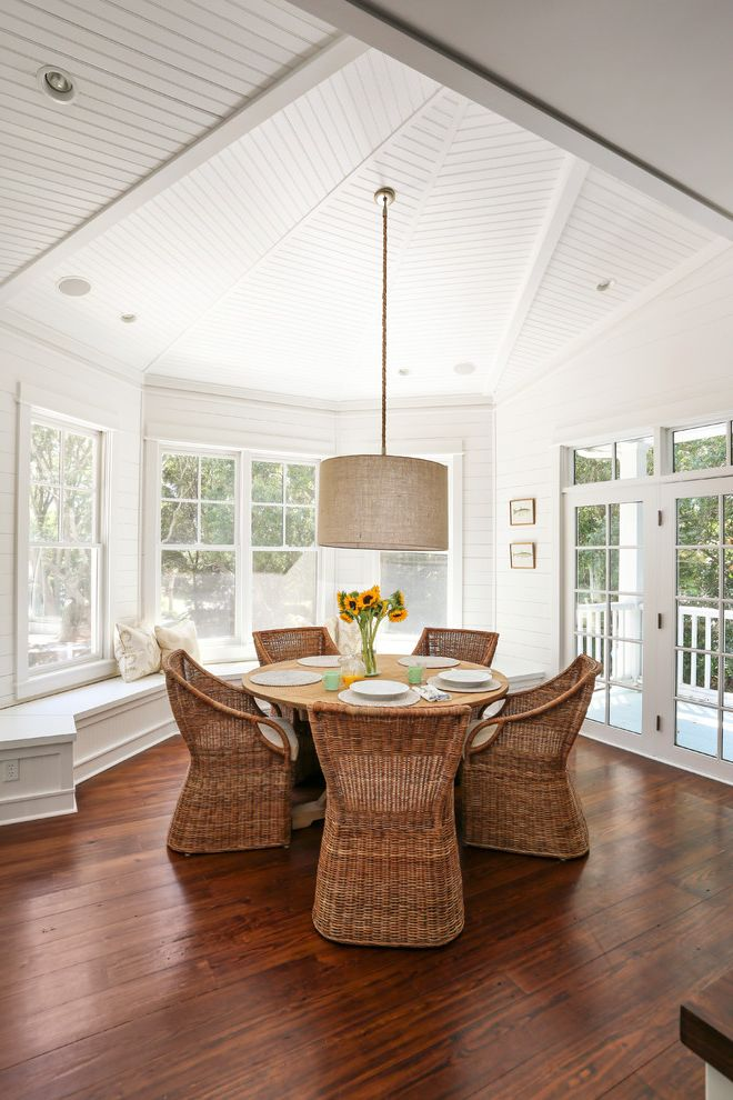 All Weather Wicker Dining Sets   Beach Style Dining Room Also Drum Pendant Glass Door Hardwood Floor Place Setting Round Dining Table Sloped Ceiling Sunflowers White Paneling Wicker Chairs Window Seat Windows