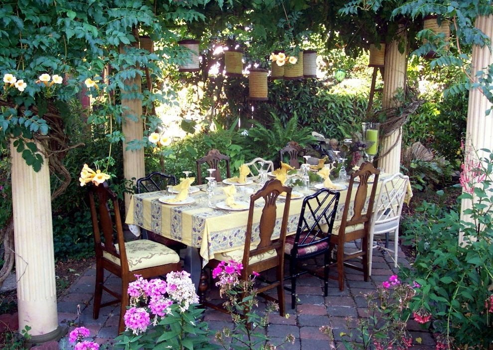 All Weather Wicker Dining Sets   Eclectic Patio  and Candle Candle Holder Columns Exterior Lighting Hanging Light Lantern Outdoor Dining Outdoor Lighting Paver Table Setting Tablecloth Vine Yellow