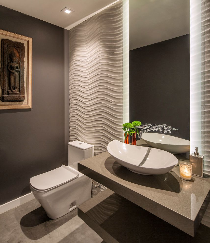 Allens Plumbing with Contemporary Powder Room  and Allen Construction Chic Lighting Mission Canyon Santa Barbara Textured Walls Vanity Mirror Wall Art