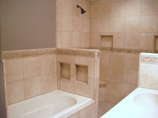 Allstar Management    Bathroom  and Bath Tub Bathroom Beige Shower Tile Ceiling Lighting Shower Sink
