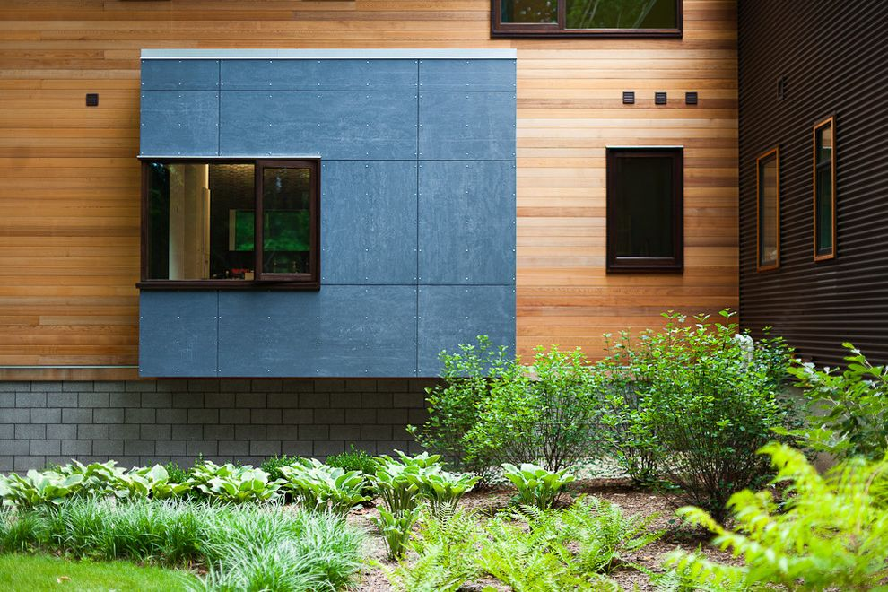 Allura Fiber Cement Siding with Contemporary Exterior  and Accent Window Corner Window Siding Steel Window Wood Siding