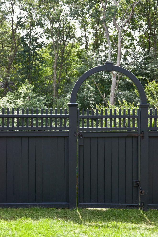 Alpha Fence Company   Traditional Landscape  and Arch Dark Gray Fence Garden Entry Gate Grass Latch Picket Detail Wood Fence