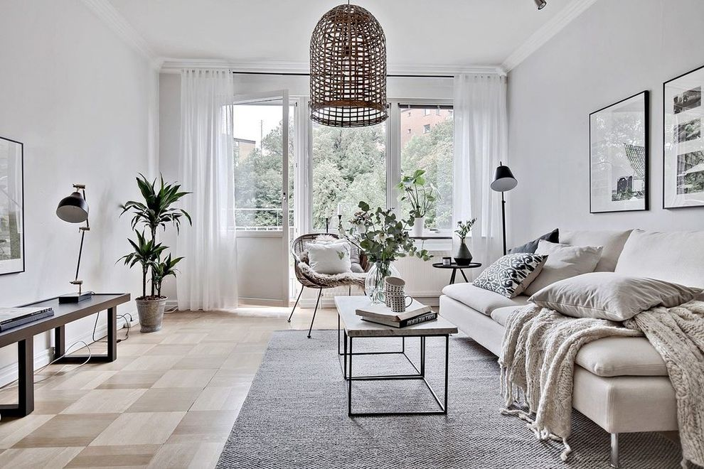 Alternatives to Hardwood Floors with Scandinavian Living Room  and Beige Filt Beige Soffa Gr Matta Ljus Lgenhet Mnstrat Tr Parkettgolv Soffbord Soffbord I Sten Stenbord Trgolv Trparkett Tunna Gardiner Vit Soffa Vit Vgg Vita Gardiner Vitt Tak