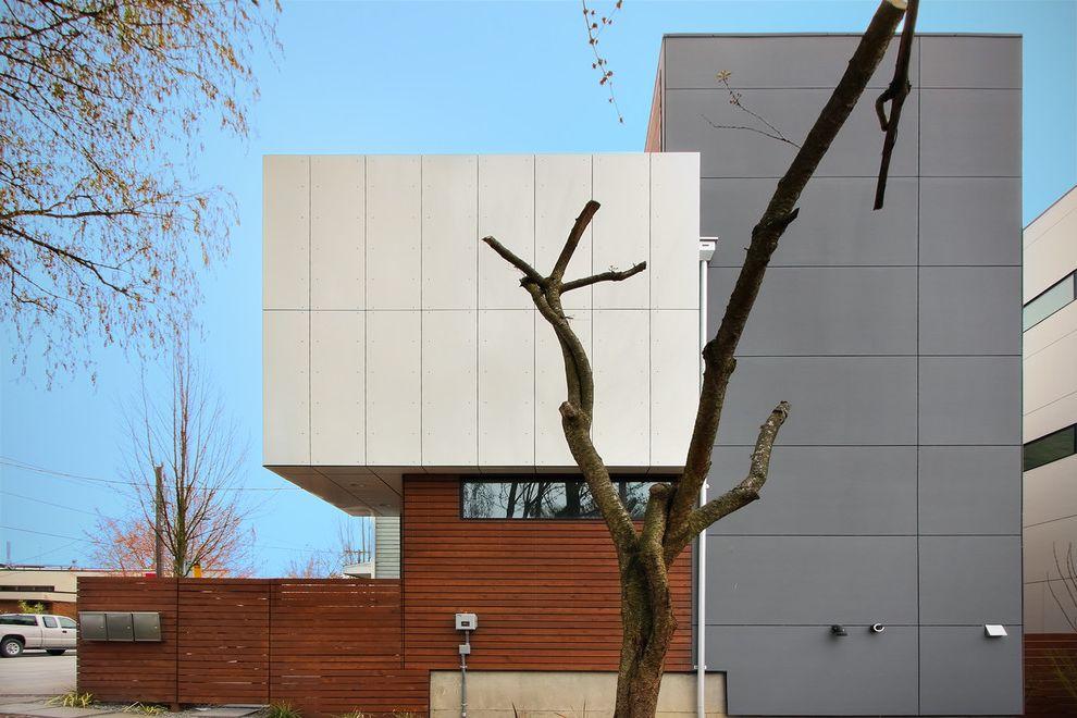 Aluminum Casting Ideas   Modern Exterior Also Entrance Entry Flat Roof Geometric Geometry Horizontal Slat Fence Massing Roof Line Wood Fencing Wood Siding