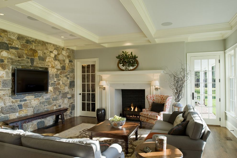 Aluminum Casting Ideas with Traditional Family Room Also Bench Coffee Tale Coffered Ceiling Fire Surround Fireplace French Doors Mantel Painted White Wood Sconce Shaker Sofa Stone Tv Wing Chair Wood Floor