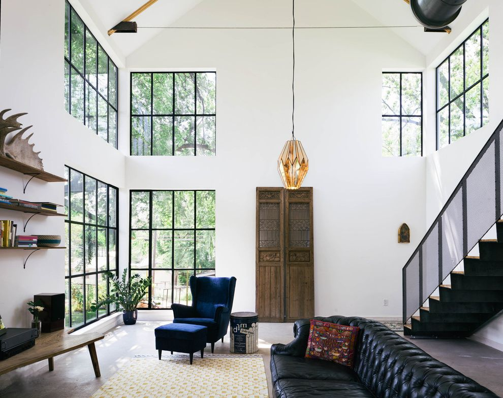 Alvin Hollis with Industrial Living Room Also Barn Black Chesterfield Sofa Blue Armchair Exposed Beams Exposed Rafters Farmhouse Handmade Open Shelves Steel Stair Steel Windows Vintage