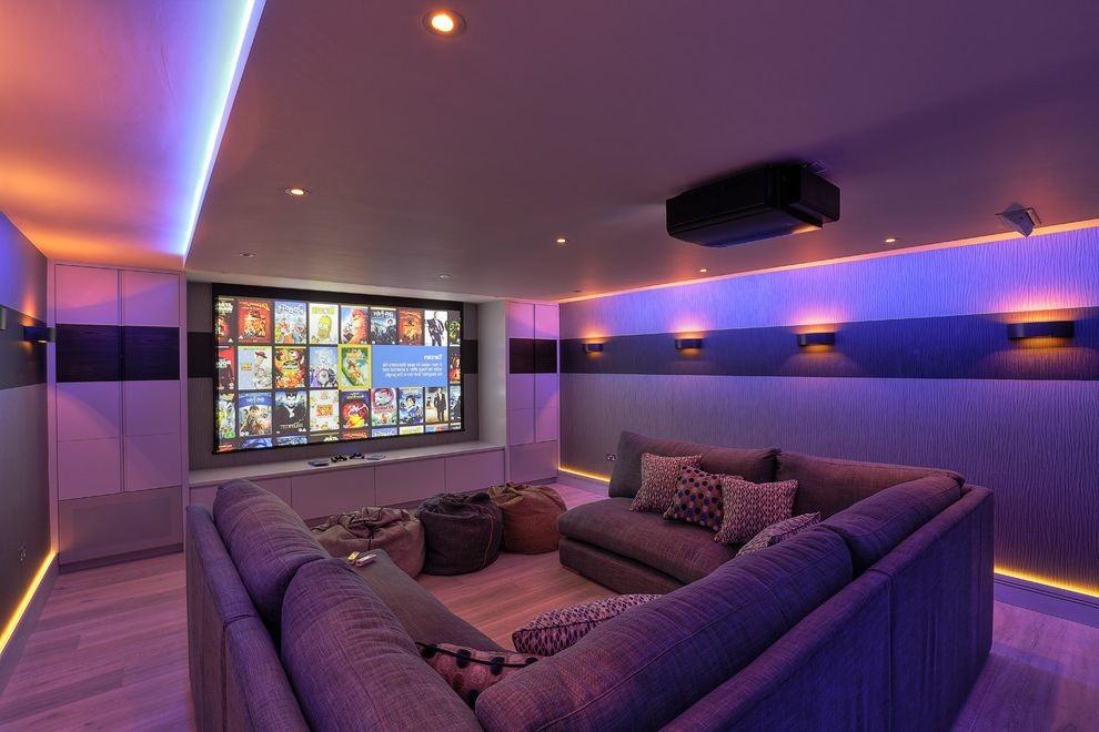 Amc Theaters New Lenox with Contemporary Home Theater Also Bean Bags Cinema Cinema Room Control4 Family Home Cinema Home Cinema Lighting Kaleidscape Projector Screen Tv Room U Shaped Sofa