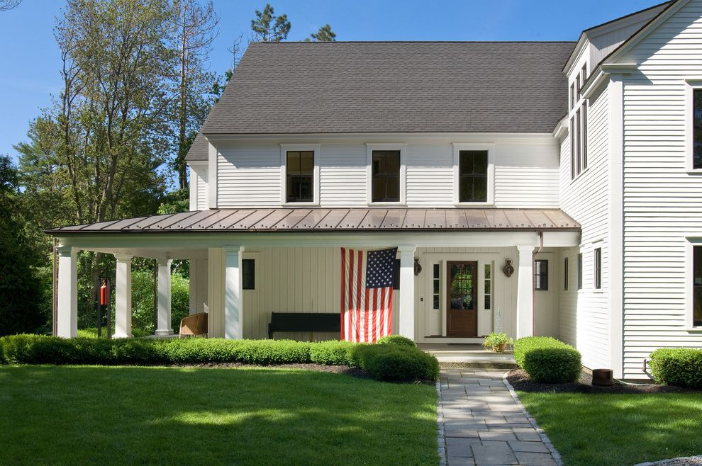 American Roofing Utah   Traditional Exterior Also American Flag Lawn Panel Siding Small Bushes White Exterior White Pilars Wrap Around Porch
