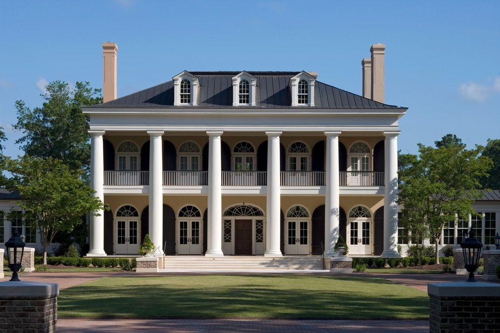 American Roofing Utah   Traditional Exterior Also Arched Windows Classical Architecture Colonial Columns Estate Fan Windows French Doors Lowcountry Metal Roof Plantation Style Porch Southern Style Three Story House Tuscan Columns White Columns