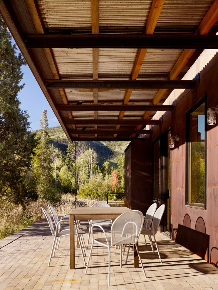 American Roofing Utah with Modern Patio  and Brick Corten Steel Eaves Metal Cafe Chairs Metal Roof Natural Landscape Overhang
