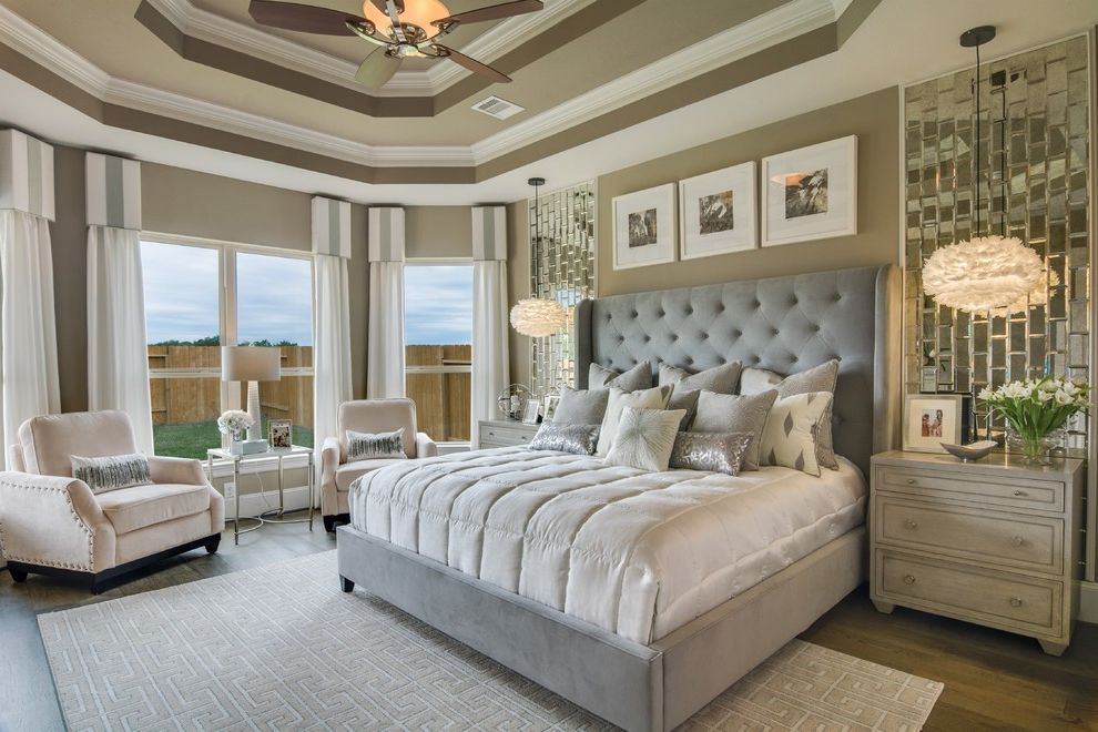 American Signature Furniture Tampa with Transitional Bedroom  and Bedroom Seating Bedroom Suite Dresser Nightstand Gray Bedroom Gray Tufted Headboard Mirror Tile Symmetry Taupe Walls Tray Ceilings Wood Floors Wood Nightstand