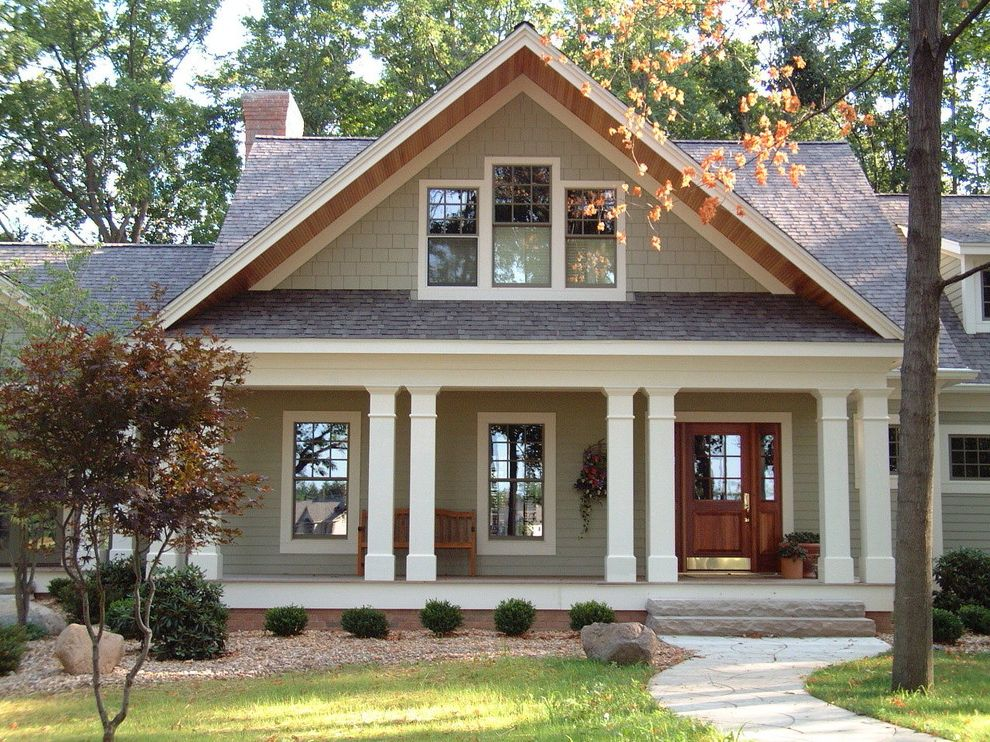 Americas Best Home Plans with Craftsman Exterior and Craftsman Screened Porch Shingle Style Trim Details Wood Columns