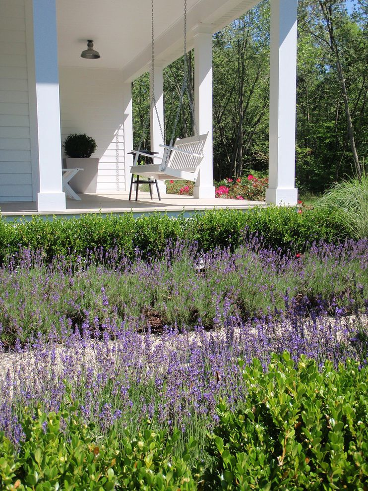 Ana White Porch Swing   Farmhouse Porch Also Boxwood Covered Porch Farm House Farmhouse Lavender Porch Porch Swing Purple Flowers White Beam White Exterior White Panel White Porch Swing White Post White Siding White Swing White Table