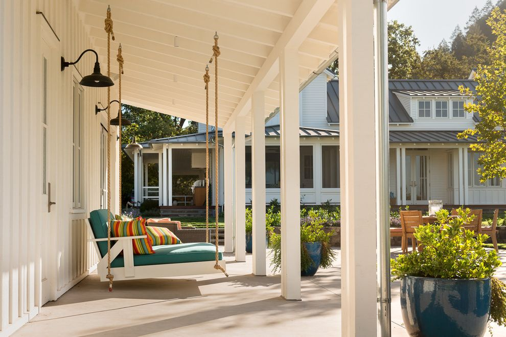 Ana White Porch Swing   Farmhouse Porch Also Calm Columns Contemporary Farm House Modern Farm House Napa Valley Outdoor Living Outdoor Pillows Outdoor Sconces Planters Relaxing Swinging Porch Bed Tranquil White Farm House Wine Country