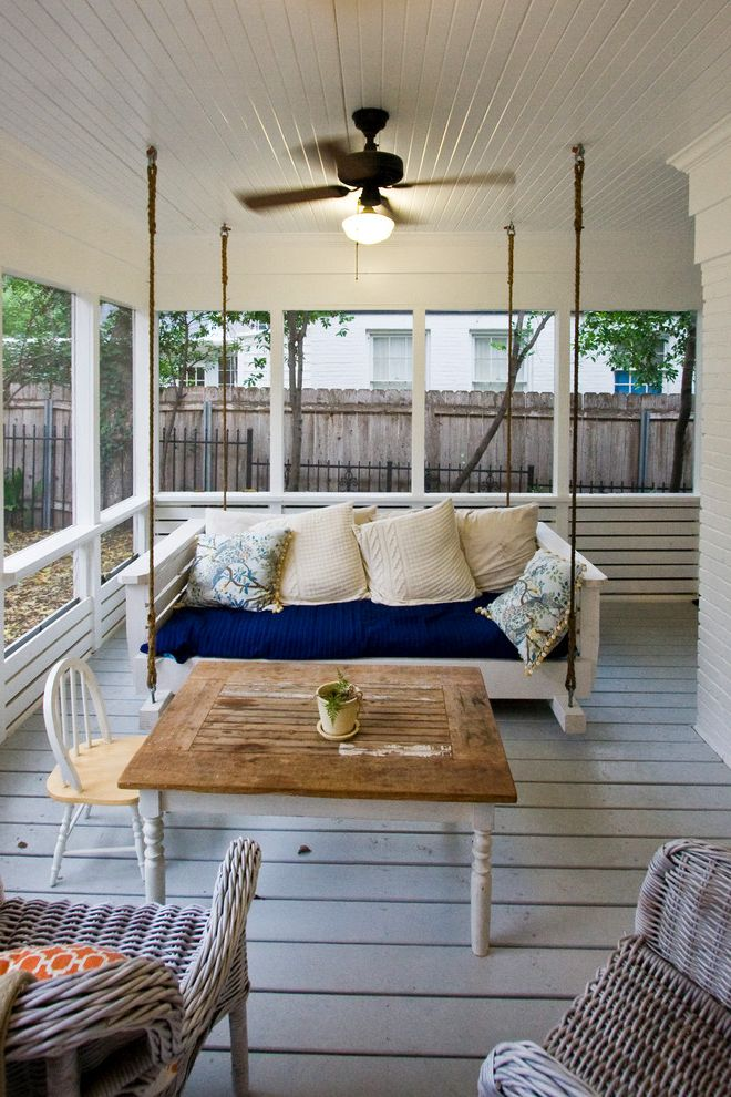 Ana White Porch Swing with Farmhouse Porch  and Blue and White Ceiling Fan Screened in Porch Swinging Bench Tongue and Groove Ceiling White Painted Brick Wicker Furniture