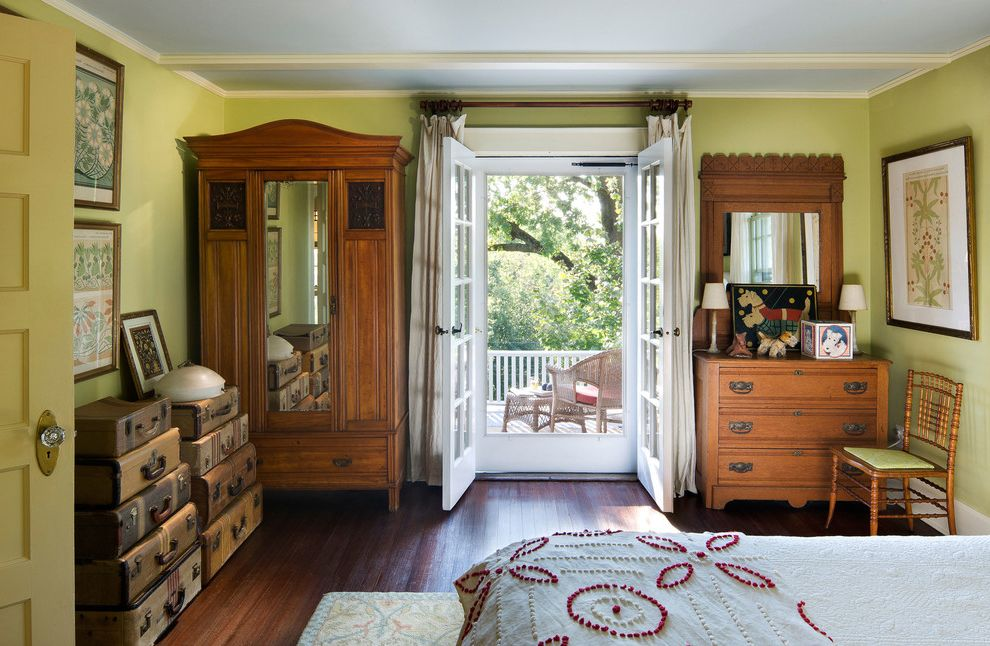 Anderson French Door Screen   Traditional Bedroom  and Bed Bedroom Brice Gaillard Stylist Dresser Drawers Francis Dzikowski Photography Gary Brewer Architect Ramsa Suitcases Terrace Vintage Suitcases Yonkers House