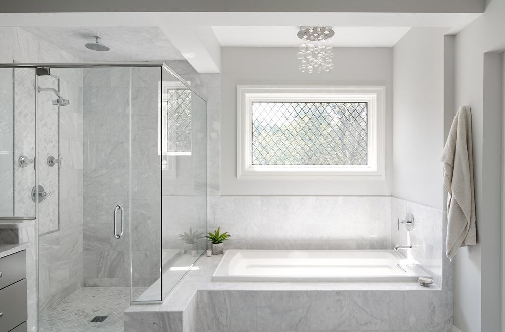 Anderson Windows Prices with Transitional Bathroom Also Bubble Chandelier Chrome Fixtures Custom Glass Shower Door Gray Light Master Bathroom Neutral Open Sleek Spa Tile Work White Window Trim