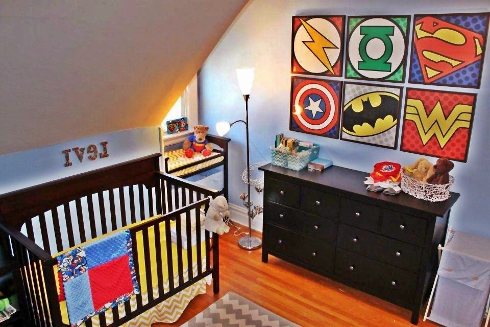 Andersons Nursery   Contemporary Kids  and Baby Nursery Batman Comic Books Nursery Superheroes Superman