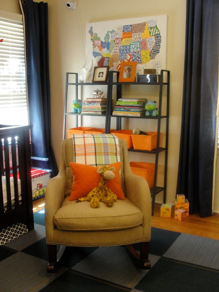 Andersons Nursery   Eclectic Kids  and Baby Nursery Baskets Blue Bookcase Boys Nursery Map Nurseries Nursery Nursery Design Nursery Design Ideas Orange Rocker Shelves