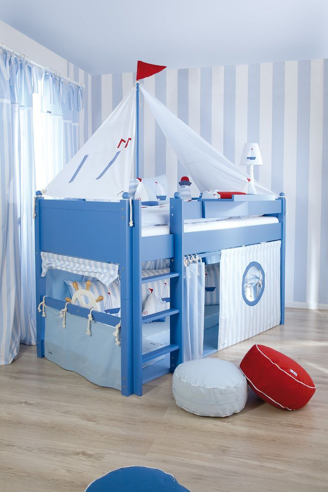 Andersons Nursery with Beach Style Kids  and Bunk Bed Coastal Coastal Bedding Cool Bed Cool Boy Bedroom Idea Ideas for Baby Boy Nursery Kids Beds Kids Room Nautical Accessories Nursery Sailboat Sailing Bed