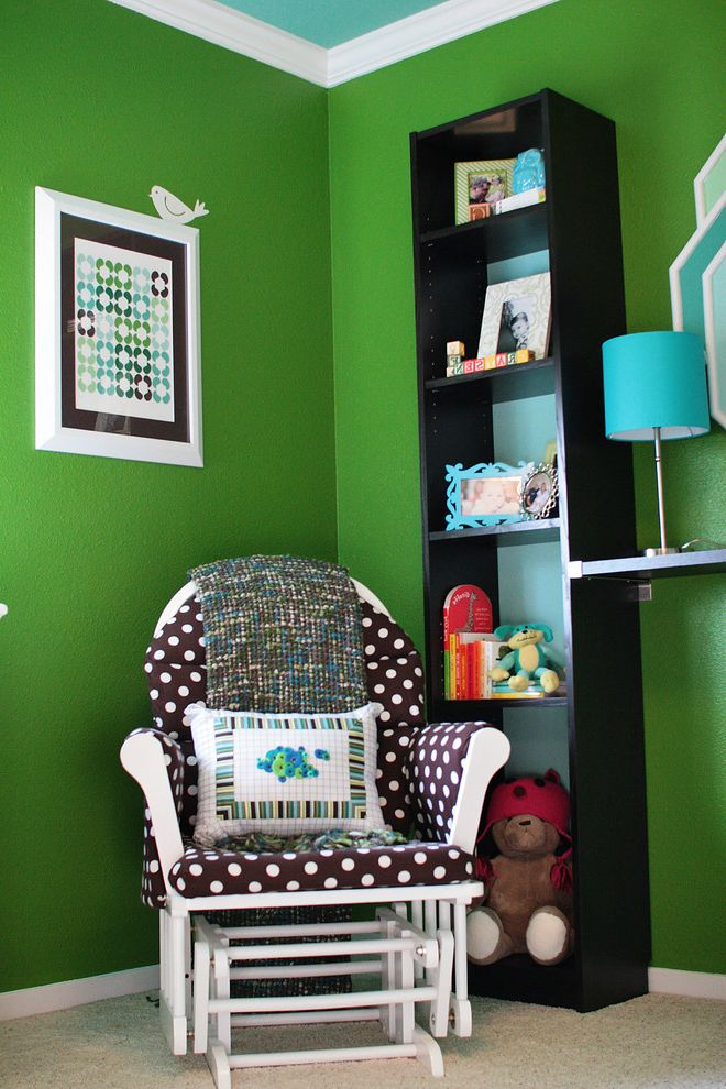 Andersons Nursery with Modern Kids  and Bookshelves Bulletin Board Carpet Floating Shelf Green Kids Rooms Nursery Painted Ceiling Painted Walls Rocking Chairs and Gliders Wall Art Wall Decal White Trim