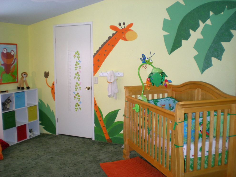 Andersons Nursery with Tropical Nursery Also Baby Baby Girl Bright Fun Giraffe Jungle Monkey Mural Muralist Nursery Palm Tree Sunny Tropical Yellow
