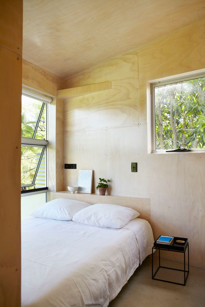 Angled Headboard   Contemporary Bedroom Also Aluminium Faade Aluminium Sheets Clean Detail Hidden Location Indoor Timber Cladding Metal Sheets Plywood Plywood Ceiling Plywood Walls Simple Timber Cladding Wood Sheets Wood Walls