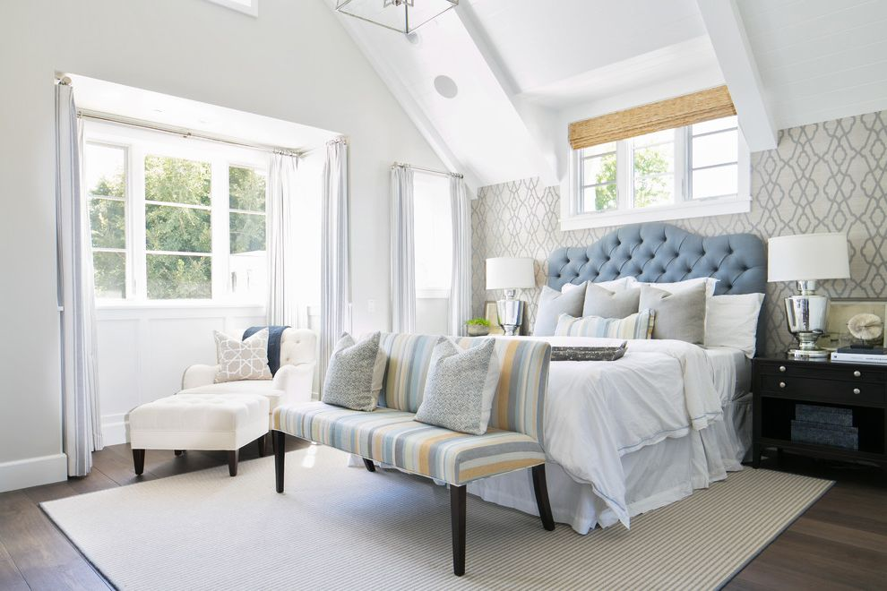 Angled Headboard with Beach Style Bedroom Also Alcove Area Rug Bedroom Bench Neutral Nook Sitting Area Sloped Ceilings Tufted Headboard Wallpaper