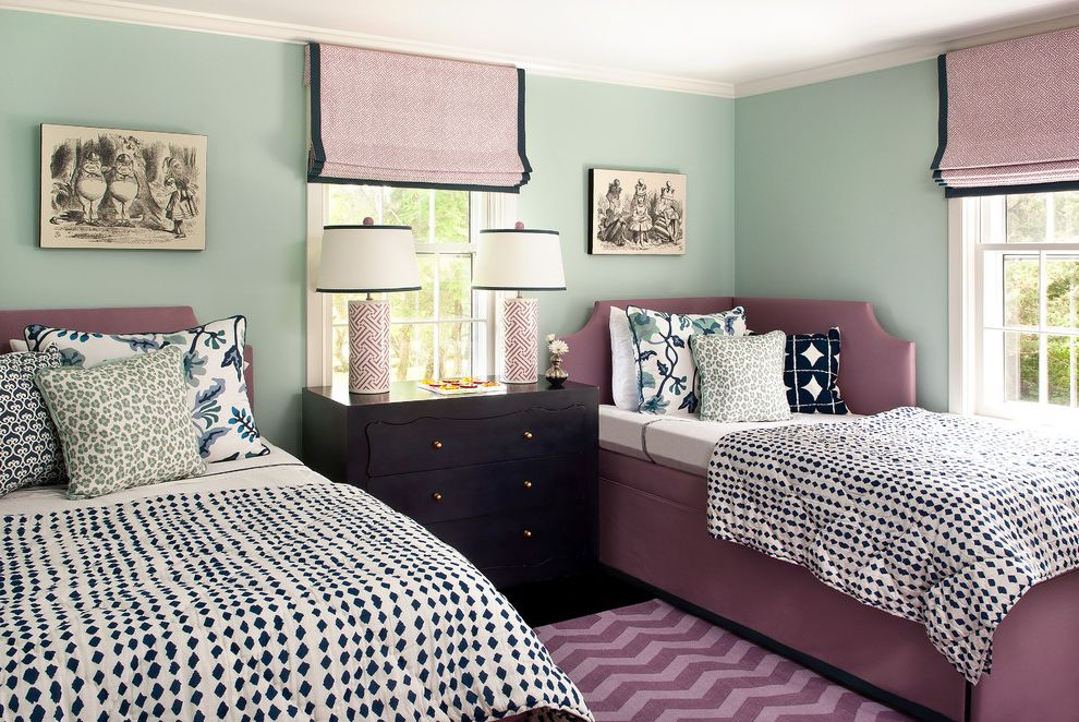 Angled Headboard with Beach Style Bedroom Also Artwork Cheetah Print Chevron Corner Headboard Dark Stained Wood Double Hung Windows Dresser Green Walls Mint Green Pleated Roman Shades Table Lamps Upholstered Bed