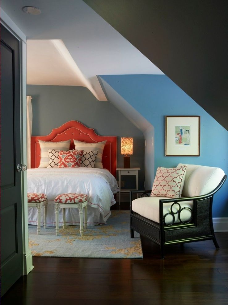 Angled Headboard with Contemporary Bedroom  and Dormer Ikat Light Blue Nightstand Quatrefoil Rattan Chair Reading Lamp Slanted Roof Stools Throw Pillows Upholstered Headboard Upholstery Nails